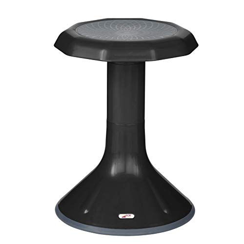 ECR4Kids ACE Active Core Engagement Wobble Stool for Kids, Flexible Classroom & Home Seating, Kids' Chair, Flexible Seating, Wiggle Chairs, 360 Degree Movement, 18-inch Seat Height, Black