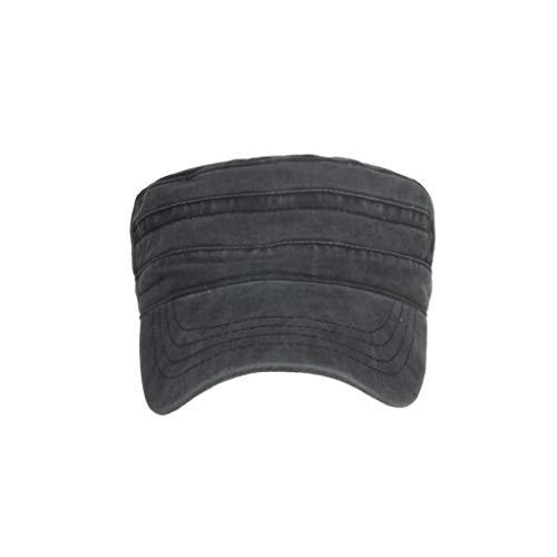 LOPILY Algodón Lavado Caps Militares Caps Cadet Diseño único Vintage Top Tapa Plana Casquillo al Aire Libre La Sombrero de Sol(Negra)