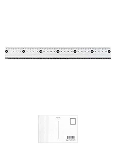 レイメイ藤井 定規 見やすい白黒定規 30cm 白 APJ281W 『 2セット 』 + 画材屋ドットコム ポストカードA