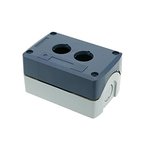 BeMatik - Caja de control de dispositivos eléctricos para 2 pulsadores o interruptores de 22 mm gris