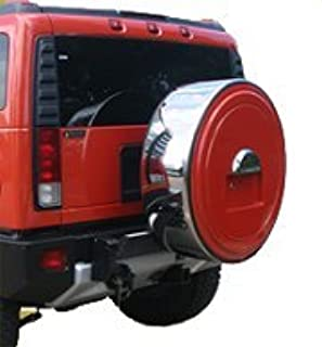 Hummer H2 (05-10) - MasterSeries Hard Tire Cover - (Painted Plastic Face & Polished Stainless Steel Ring) - No Logo - Fusion Orange