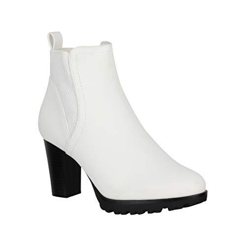 Jumex Damen Stiefeletten Ankle Boots Chunkyrayan KL0612 White-38