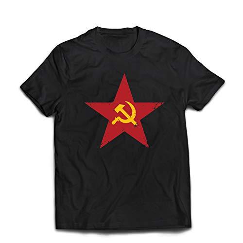 lepni.me Camisetas Hombre URSS СССР La Hoz y el Martillo, símbolo del proletariado socialista (X-Large Negro Multicolor)