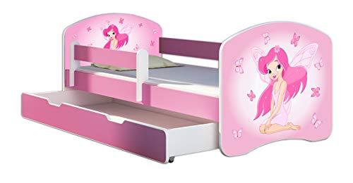 Kinderbett Jugendbett mit einer Schublade und Matratze Rausfallschutz Rosa 70 x 140 80 x 160 80 x 180 ACMA II (07 Rosa Fee, 70 x 140 cm + Bettkasten)