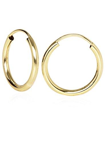 MyGold Creolen Ohrringe Gelbgold 333 Gold (8 Karat) Ø 15mm Goldcreolen Goldohrringe Damenohrringe Ohrschmuck Leyla C-04113-G301-15mm/2mm
