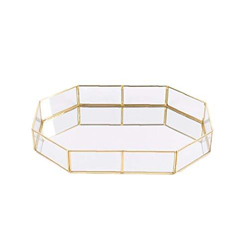 Glas Dekorative Tray Polygon Trompete Vergoldete Schmuck Dish Vintage Brass Couchtisch Tray Parfüm Tray 3.94