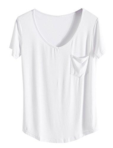 iClosam Damen T Shirt Sommer Casual Elegante Tunika Top V Ausschnitt mit Tasche. (Weiß, S)