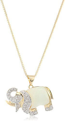 18k Yellow Gold Plated Sterling Silver Genuine Green Jade and Created White Sapphire Elephant Pendant Necklace, 18'