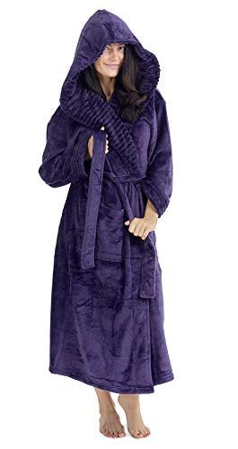 CityComfort Albornoz Mujer Ducha Súper Suave en Lana Polar Bata con Capucha (S, Morado Oscuro)
