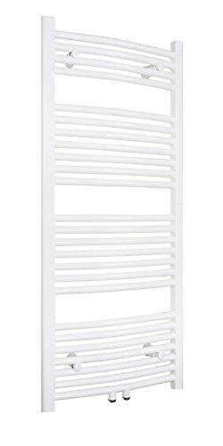 SixBros. R20 Badheizkörper (1200 x 450 mm, Watt 505) – Ovaler Heizkörper mit Handtuchhalter für das Bad - pulverbeschichtet – weiß