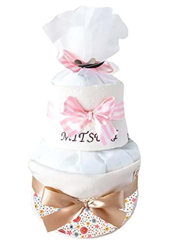 ribon 出産祝い おむつケーキ 今治 タオル 名入れ おしゃれ GOTS認証 北欧 オーガニック (M, パステル)