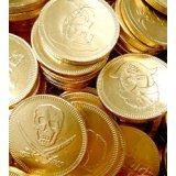 30 monedas de dinero con diseño de piratas con chocolate con leche