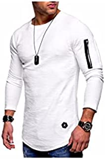 Fbnzmluqcx Long Sleeve Shirts Men Solid Color Long-sleeved T-shirts Mens Fake Zipper Personality Style Tshirt Male Loose T...