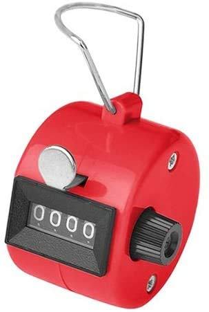 White Deer Hand Tally Counter 4 Digit Number Dual Clicker Golf Handy Convenient (Red)