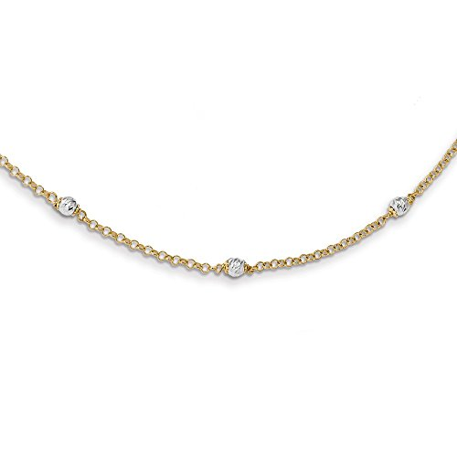 14k Two Tone Yellow Gold Beaded 16 Inch 2 Extension Chain Necklace Pendant Charm Bead Station Fine Jewellery For Women Gifts For Her