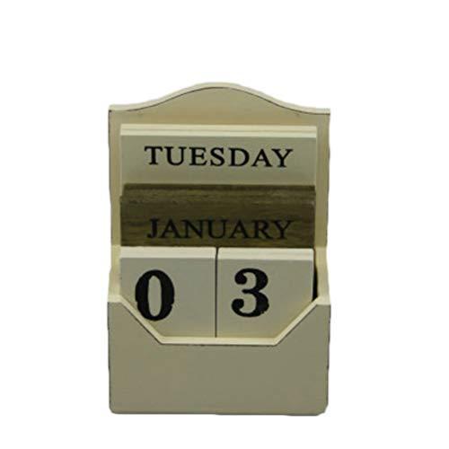 HEALLILY 1 unid calendario de madera moda creativo minimalista diy planificador decoración del hogar calendario de escritorio adornos de madera