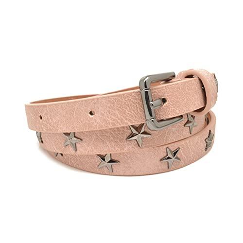 Isa & Ale Cinturón con tachuelas de estrella rosa 107x1.4cm (106.7 x 1.3 cm)