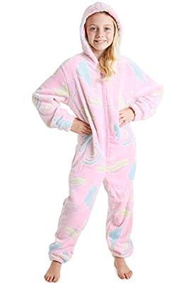 Pijama Unicornio Niña Onesie Pijamas Niñas Entero Brilla en la Oscuridad Glow in The Dark 3-14 ANS (9-10 años, Rosa)