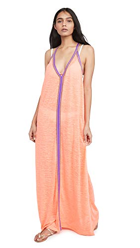 Pitusa Women's Sun Maxi Dress, Coral, Pink, Orange, One Size