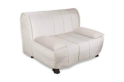 Evergreenweb – Sofá cama de 160 x 190 cm, de espuma waterfoam ortopédica lista con revestimiento desenfundable y lavable, color cojines supersuaves a juego – Evening (beige, plaza y media 120)
