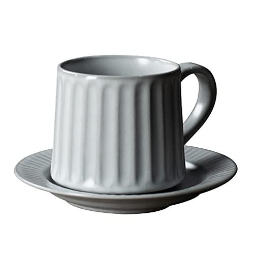 Latte Art Cup - Juego de taza de té y platillo de cerámica, 350 ml, taza de leche vintage europea para oficina y hogar, color gris cafetera (color: gris)