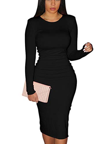 XXTAXN Women's Sexy Bodycon Long Sleeve Round Neck Work Office Maxi Pencil Dress Black