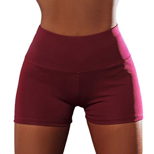 chenpaif Women Sexy High Waist Yoga Shorts Ruched Butt Lift Sport Gym Push Up Hot Pants Elastic Solid Color Skinny Fitness Tight Leggings Red M