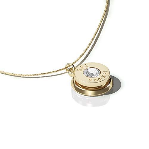 9mm Jewelry Collar con colgante con acabado en oro de 24 quilates, piedra preciosa neutra y cadena de plata