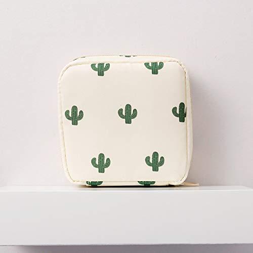 Los estudiantes boca portátil pequeño bolso cosmético rojo mini bolso cosmético kits de aseo paquete de admisión paquete de compresas higiénicas ins ( Color : Beige cactus , Size : 9*8.5*5cm )