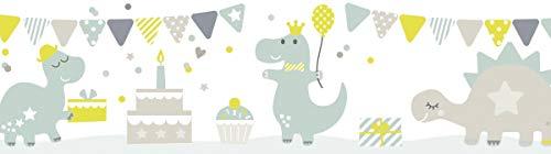 lovely label Bordüre selbstklebend DINOPARTY TAUPE/MINT/LIMETTE - Wandbordüre Kinderzimmer/Babyzimmer mit Dinosauriern - Wandtattoo Schlafzimmer Mädchen & Junge – Wanddeko Baby/Kinder