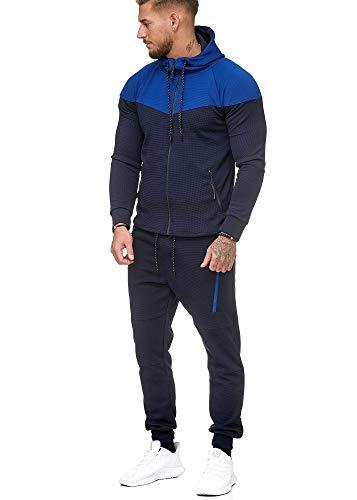 L.gonline heren trainingspak | joggingpak met capuchon en geribde manchetten | trainingsjack en broek | ademend | sportpak 268