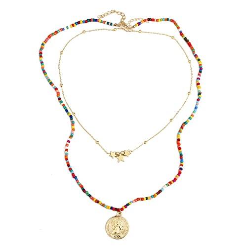 wuxia Juego de 2 collares con colgante de moneda de estrella étnica bohemia para mujer, hecho a mano, con cuentas de oro, cadena larga, collar en capas, regalo de joyería (color metal: N300-1)