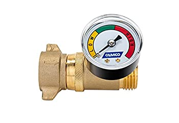 Camco Brass Water Pressure Regulator with Gauge- Helps Protect RV Plumbing and Hoses from High-Pressure City Water - Easy Read Gauge Lead Free  40064