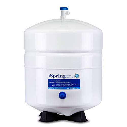 """iSpring T32M Pressurized Water Storage Tank with Ball Valve for Reverse Osmosis RO Systems, 4 Gallon, 1/4"""" Tank Valve Included"""