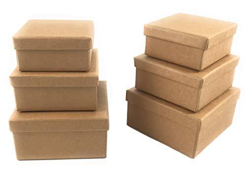 Bastelbox aus Karton Geschenkbox Papp-Box mit Deckel Quadratisch 6 Stück in drei Größen