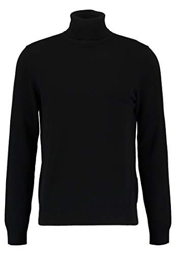 Pier One Sweatshirt Feinstrick mit Rollkragen für Herren - Wollpullover schwarz - Oberteil in Größe M