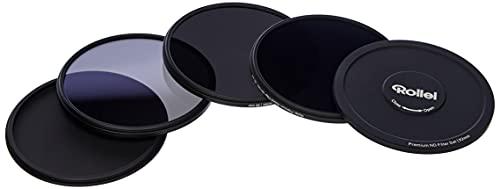 Rollei Premium Objektiv Grau Filterset bestehend aus: je 1x ND 8, ND 64 und ND 1000 Filter aus Gorilla Glas mit Aluminium Ring für Langzeitbelichtung mit Aluminium-Schutzdeckel.