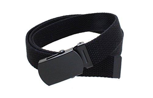 Kids Canvas Web Belt Flat Black Buckle/Tip Solid Color - Black