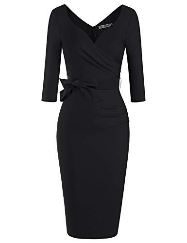MUXXN Womens Cute Rockabilly Cut V Neck Tie Package Hip Work Dress with Sleeves (Black XXL)