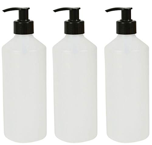 3 botellas de plástico HDPE de 500 ml con dispensador de bomba negra para loción/lavado de mano/gel/desinfectante/jabón/champús/limpiadores