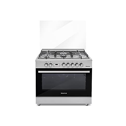Taurus CIGE5FIXM - Cocina mixta independiente, acero inoxidable, cocción gas/horno eléct, gas butano/gas natural, 5quemadores, horno 110L, temporizador digital, cristal doble, termostato, 90x60x88cm,