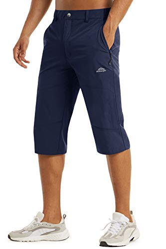 TACVASEN Men's Hiking 3/4 Trousers Summer Hunting Shorts Capris of Men Quick Dry Water Resistant Navy, 34