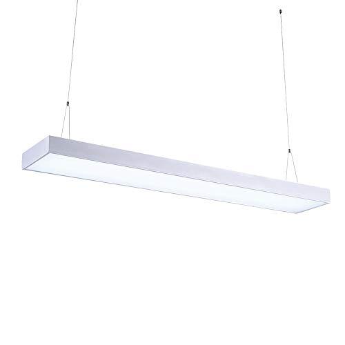 FreedomT LED Panel Hängeleuchte Deckenleuchte 48W 4300LM Kaltweiss 6500K LED Pendelleuchte für Büroleuchte, Esszimmer, Schlafzimmer, Höhenverstellbar, Silber 90X20X5.5 cm [Energieklasse A+]