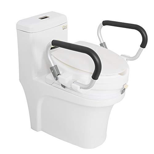 AYNEFY Toilettensitzerhöhung mit Armlehnen WC-Sitz Erhöhung TSE 150Kg Toilettenhilfen Toilettenaufsatz für Senioren, weiß, 40 x 43,5 x 10 cm