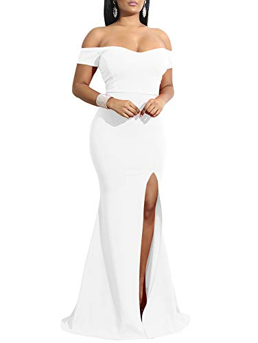 YMDUCH Women's Off Shoulder High Split Long Formal Party Dress Evening Gown White, Small