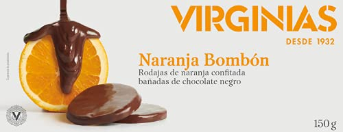 VIRGINIAS rodajas de naranja confitada con chocolate negro caja 150 gr