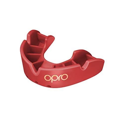 Opro Mundschutz Bronze - Zahnschutz für Rugby, Hockey, MMA, Boxen, und andere Kontaktsportarten (Rot, Junior)
