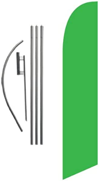Solid Light Green Advertising Feather Banner Swooper Flag Sign With Flag Pole Kit And Ground Stake Lime