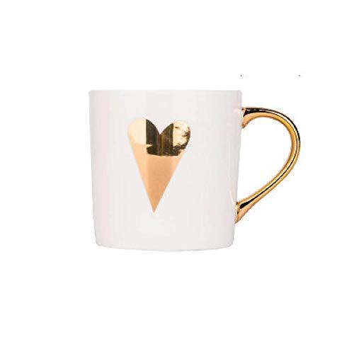 Taza de café de oro taza de cerámica taza de café de porcelana taza de té de leche de hueso taza de té amor corazón raya creativa taza de café bebidas E