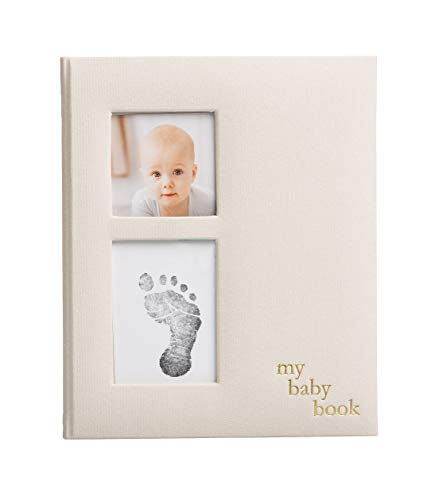 Pearhead Linen Baby Memory Book and Clean-Touch Ink Pad, Gender Neutral Baby Gift, Baby Milestones Photo Album, Ivory